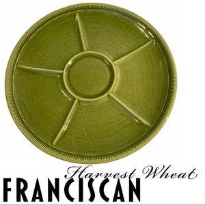 VTG Franciscan Harvest Wheat Divided Platter Green